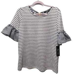 Doe & Rae Gingham Lace Up Back Striped Top P304